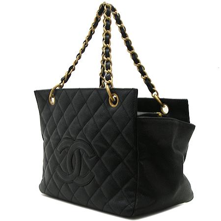 Chanel(샤넬) COCO로고 블랙 캐비어 정방 금장 체인 토트백
