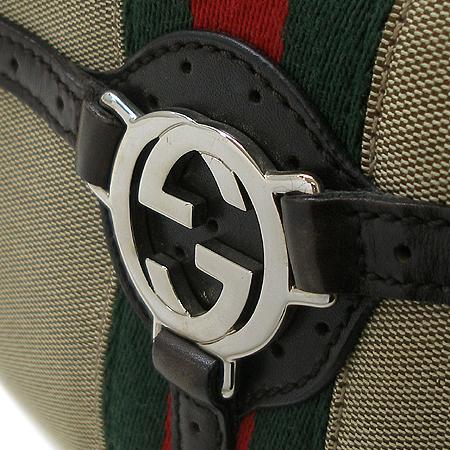 Gucci(구찌) 114869 은장 로고 장식 삼색 스티치 패브릭 호보 숄더백