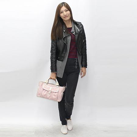 Celine(셀린느) 핑크 블라종 패브릭 래더 파이핑 원포켓 부기 토트백