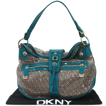 DKNY(도나카란) 금장 로고 스팽글 장식 패브릭 에나멜 트리밍 숄더백