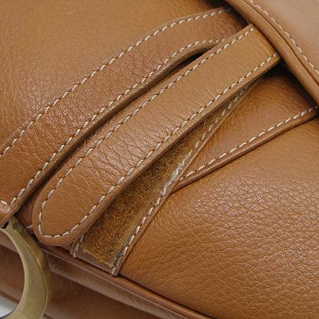 Dior(크리스챤디올) 금장 로고 장식 브라운 래더 새들 숄더백