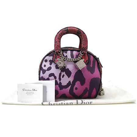 Dior(크리스챤디올) 은장 로고 큐브 장식 파이손 패브릭 토트백