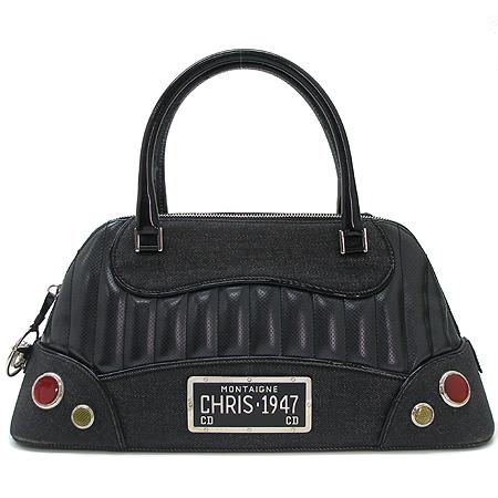 Dior(크리스챤디올) 은장 로고 장식 패브릭 래더 트리밍 토트백