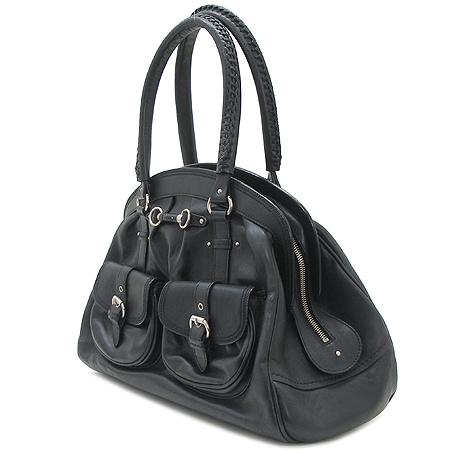 Dior(크리스챤디올) 블랙 래더 은장 로고 장식 투포켓 닥터 토트 겸 숄더백