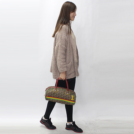 Dior(크리스챤디올) 로고 패턴 PVC 삼색 스티치 토트백