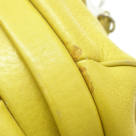 Dior(크리스챤디올) 은장 로고 벨트 장식 옐로우 래더 토트 겸 숄더백