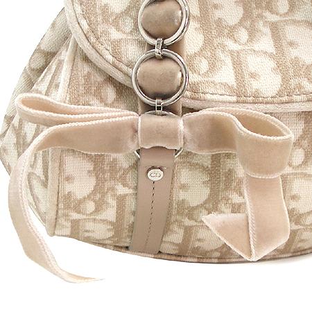 Dior(크리스챤디올) 로고 패턴 PVC 은장 리본 장식 미니 토트백