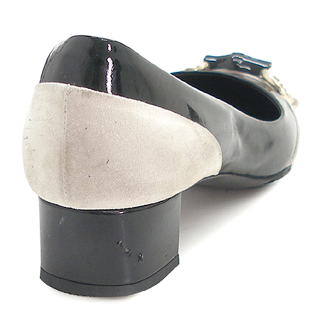 Gucci(구찌) 191311 금장 간치니 장식 블랙 페이던트 펌프스 여성용 구두