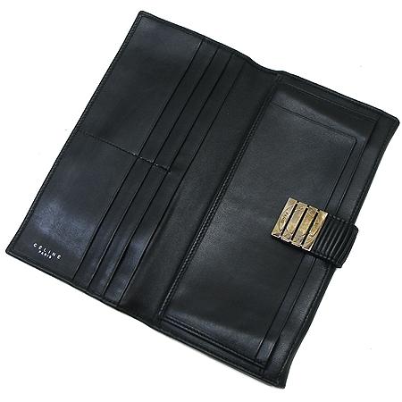 Celine(셀린느) 은장 버클 블랙 래더 장지갑