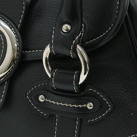 Dior(크리스챤디올) 은장 로고 장식 블랙 래더 스티치 토트 겸 숄더백