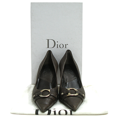 Dior(크리스챤디올) 은장 로고 장식 브라운 레더 여성용 구두