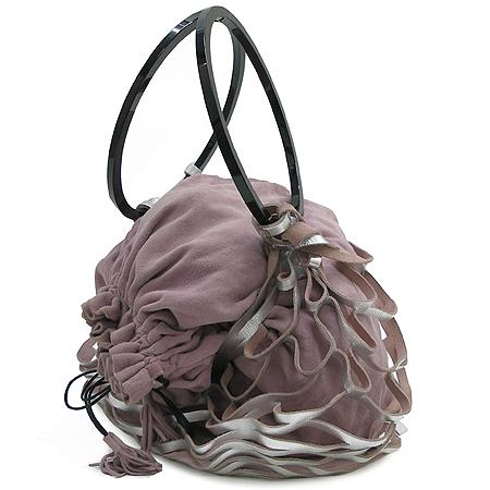 Ferragamo(페라가모) 21 2465 블랙 링장식 핑크 스웨이드 복조리 메시 숄더백