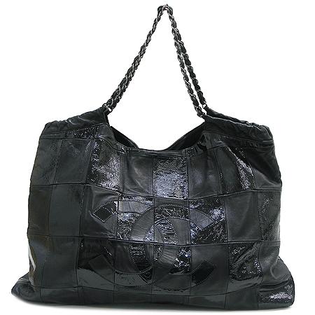 Chanel(샤넬) 크루즈 컬렉션 카바스 블랙 레더 은장 체인 숄더백