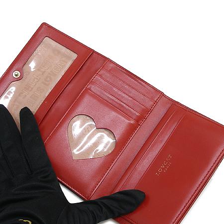 LOVCAT(러브캣) 하트 장식 버클 레드 페이던트 중지갑