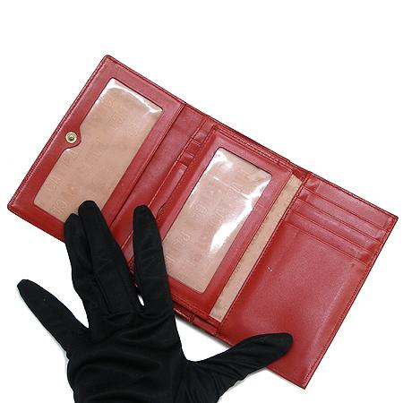 LOVCAT(러브캣) 하트 장식 버클 레드 페이던트 중지갑 이미지3 - 고이비토 중고명품
