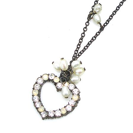 Evita(에비타) 커스텀 진주 크리스탈 장식 하트 엔틱 목걸이 귀걸이 세트 [강남본점] 이미지2 - 고이비토 중고명품
