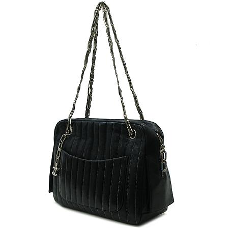 Chanel(샤넬) 마드모아젤 블랙 램스킨 스티치 장식 은장 체인 숄더백