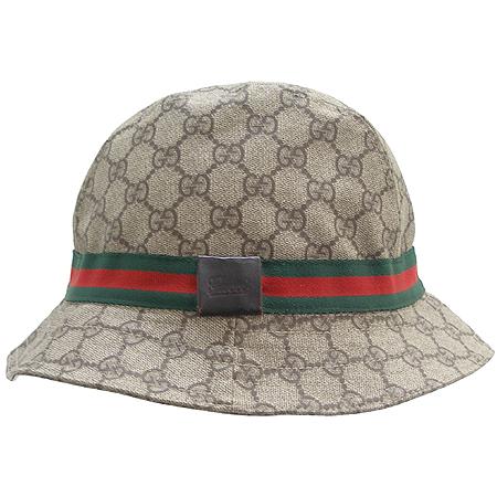 Gucci(구찌) GG 로고 PVC 삼색 스티치 벙거지 모자