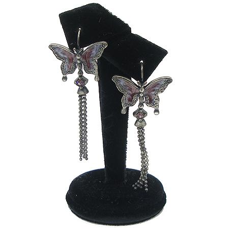 Evita(에비타) 버터플라이 퍼플 크리스탈 장식 테슬 귀걸이 [강남본점]