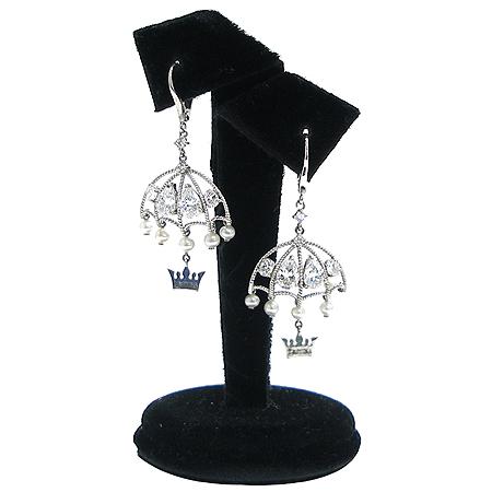J.ESTINA(제이에스티나) 925 실버 커스텀 진주 크리스탈 장식 우산 티아라 귀걸이