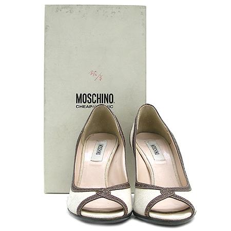Moschino(모스키노) 레더 스티지 장식 패브릭 오픈토 여성용 구두