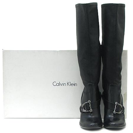 Celine(셀린느)블랙래더 은장로고 벨트장식 짚업 여성용 롱 부츠