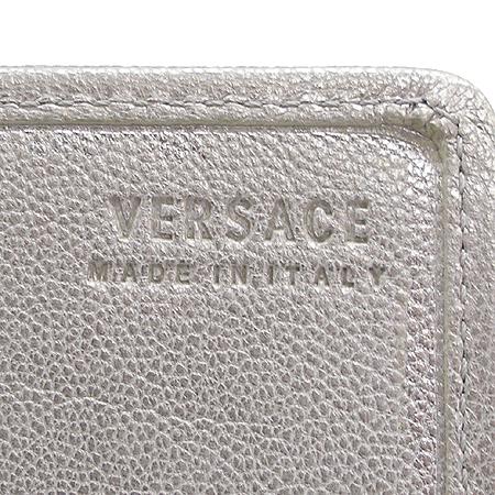 Versace(베르사체) 핑크 패브릭 자가드 은장 로고 장식 장지갑
