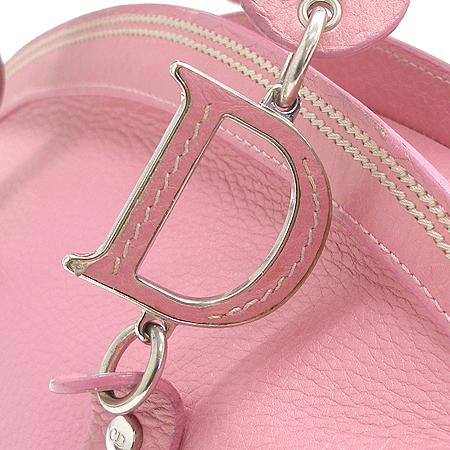 Dior(크리스챤디올) MA 0015 은장 로고 장식 핑크 래더 토트백