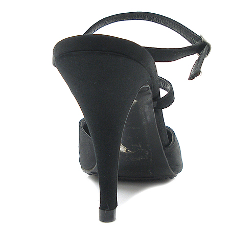 Armani(아르마니) 블랙 패브릭 스트랩 벨트 여성용 샌들
