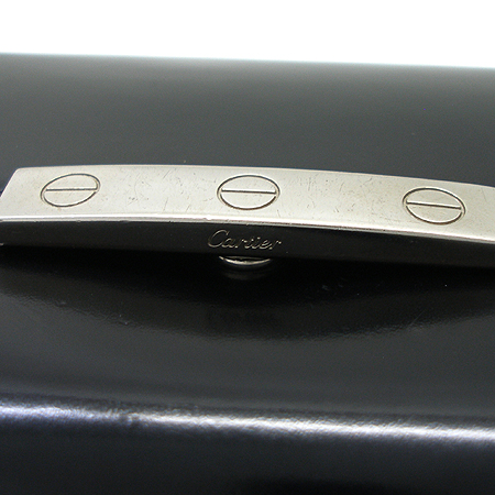 Cartier(까르띠에) 러브 은장 로고 장식 블랙 래더 장지갑