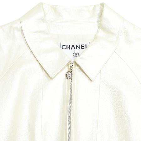 Chanel(샤넬) 가죽 자켓(배색:실크 100%)