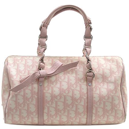 Dior(크리스챤디올) 핑크 로고PVC 보스톤 체인 토트백