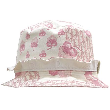 Dior(크리스챤디올) 아이보리 핑크 로고 패브릭 벙거지 모자