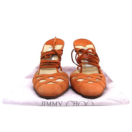JIMMY CHOO(지미추) 오렌지 스웨이드 백 오픈 스트랩 하이힐 여성용 구두