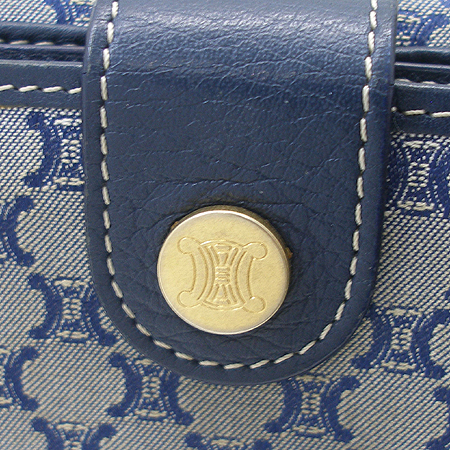 Celine(셀린느) 블루 래더 라운딩 스티치 블라종 패브릭 반지갑