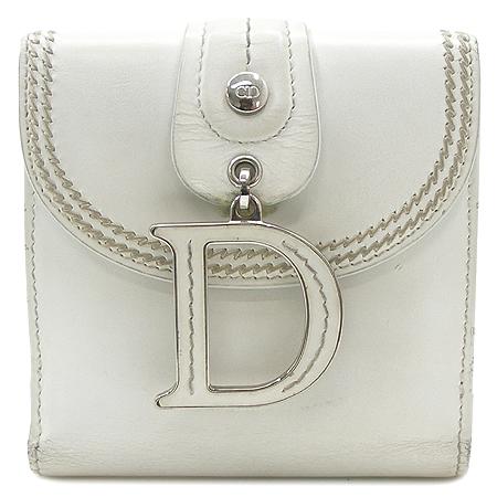 Dior(크리스챤디올) 은장 로고 장식 화이트 래더 스티치 반지갑