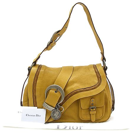 Dior(크리스챤디올) WAC44929 머스타드 래더 은장 벨트 장식 가우쵸 숄더백
