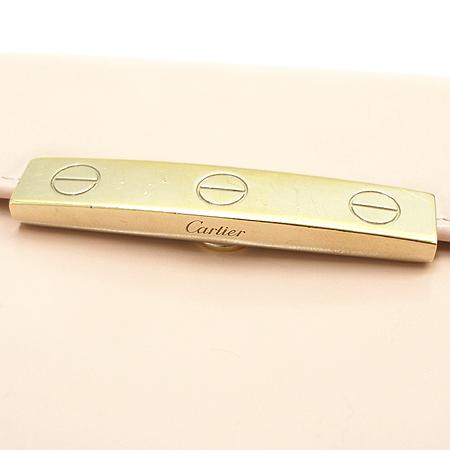 Cartier(까르띠에) 금장 로고 장식 핑크 래더 러브 반지갑