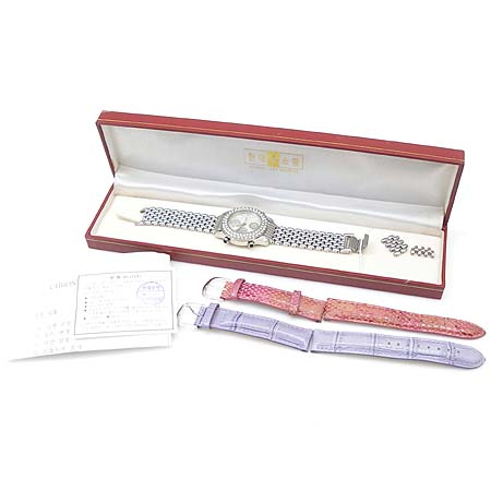 Agatha(아가타) 크로노그라프 9포인트 장식 베젤 장식 스틸 여성용 시계