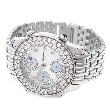 Agatha(아가타) 크로노그라프 9포인트 장식 베젤 장식 스틸 여성용 시계 이미지3 - 고이비토 중고명품