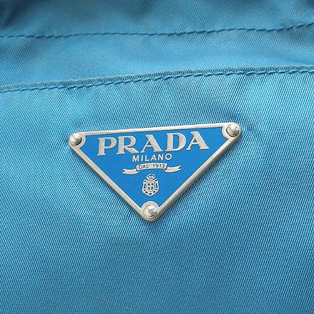 Prada(프라다) 블루 패브릭 브라운 래더 쇼퍼 숄더백