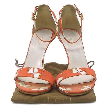 Gucci(구찌) 160144 오렌지 패브릭 크래인 패턴 하이힐 여성용 샌들 이미지2 - 고이비토 중고명품