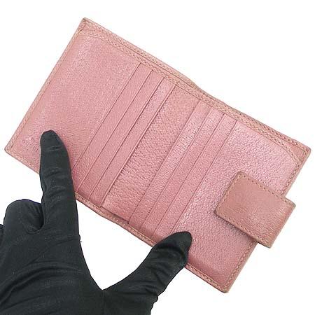 Gucci(구찌) 170371 금장 로고 장식 핑크 래더 여성용 3단 반지갑 이미지3 - 고이비토 중고명품
