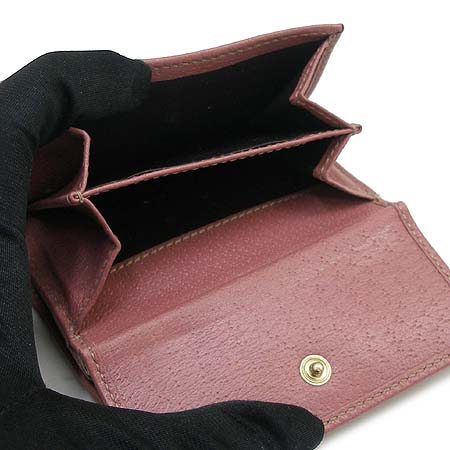 Gucci(구찌) 170371 금장 로고 장식 핑크 래더 여성용 3단 반지갑