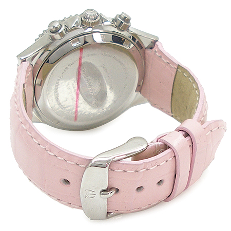 TechnoMarine(테크노마린) 다이아 베젤 자개판 핑크 래더 밴드 시계