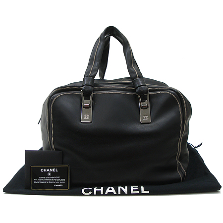 Chanel(샤넬) 블랙 래더 보스톤 토트백