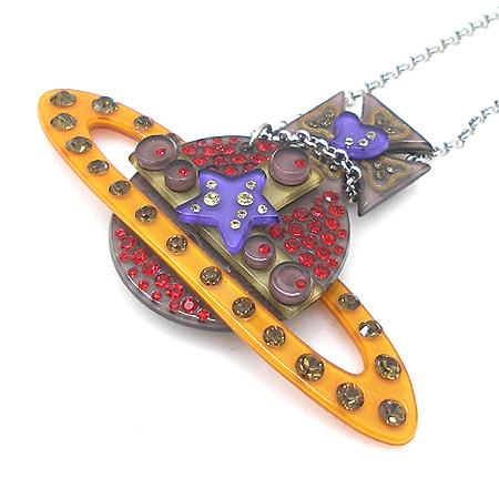 Vivienne_Westwood (비비안웨스트우드) 멀티 컬러 크리스탈 장식 로고 팬던트 목걸이