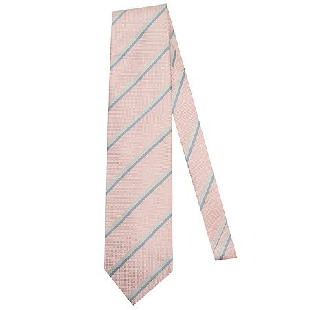 Hugo Boss(휴고보스) 그레이 스트라이프 핑크 실크 100% 넥타이