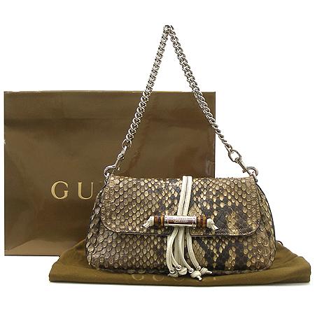 Gucci(구찌) 235320 은장 체인 뱀부 장식 브라운 파이손 숄더백 이미지2 - 고이비토 중고명품