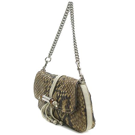 Gucci(구찌) 235320 은장 체인 뱀부 장식 브라운 파이손 숄더백 이미지3 - 고이비토 중고명품